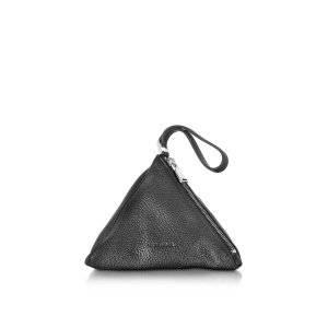 Jil Sander 3Angle Black Leather Pouch at FORZIERI