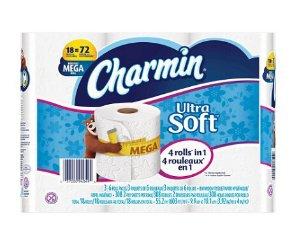 超值!$35.97 (原价$50.97)3包 Charmin 超柔软厕纸18 Mega 卷(共54卷)