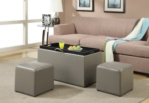 Convenience Concepts Designs4Comfort Sheridan Faux Leather Storage Bench with 2 Side Ottomans, Gray