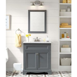 Home Decorators Collection Windsor Park 31.5 in. W Vanity in Graphite with Stone Effects Vanity Top in Carrera with White Basin and Mirror-WP30P3-GP - The Home Depot