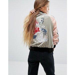 Glamorous Embroidered Bomber Jacket In Velvet