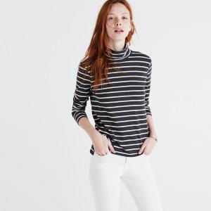 Whisper Cotton Turtleneck in Freddie Stripe : long sleeve