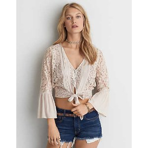 AEO Tie Front Crop Top , Blush | American Eagle Outfitters