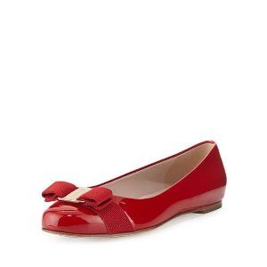Salvatore Ferragamo Varina Patent Bow Ballerina Flat, Rosso (Red)