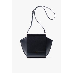 Black Mini Leather and Suede Crossbody Bag=