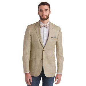 Tailored Fit Windowpane Tropical Blend Sportcoat - All Clearance   Jos A Bank