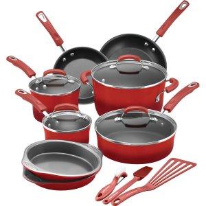 $99.00 Rachael Ray 15-Piece Hard Enamel Nonstick Cookware Set