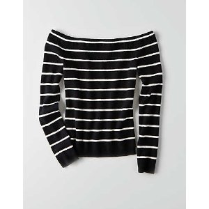 AEO Off-The-Shoulder Ribbed Sweater, White