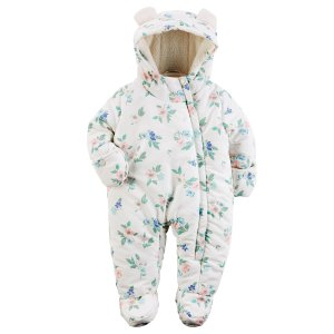 Baby Girl Carter's Hooded Floral Bunting   Carters.com