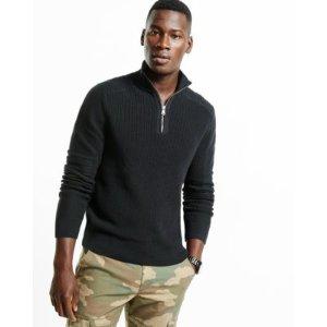 Ribbed Zip Cotton Mock Neck Moto Sweater