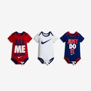 Nike Swoosh Three-Piece Infant Boys' Bodysuit Set .