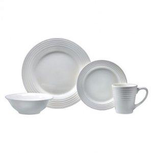 Oneida Continuum 16 Piece White Dinnerware Set, Service for 4