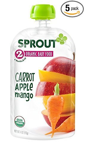 Sprout Organic Baby Food Stage 2 Pouches, Carrot Apple Mango, 4 Ounce (Pack of 5)