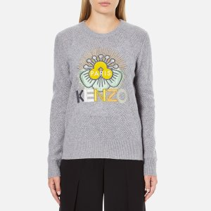 KENZO Women's Flower Logo Knitted Jumper - Light Grey - Free UK Delivery over £50
