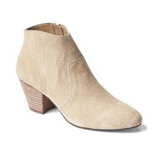 Suede western ankle booties