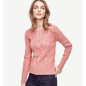Aran Crewneck Sweater | Ann Taylor