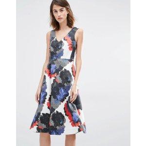 Warehouse   Warehouse Premium Oversized Floral Prom Dress