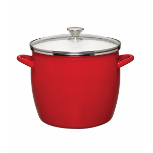 Sabatier® Red Enamel on Steel Stock Pot with Glass Lid | Bon-Ton