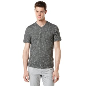 Short Sleeve Cotton Blend V-Neck Shirt