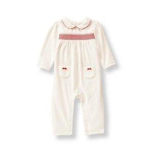 Baby Girl Ivory Velour 1-Piece at JanieandJack