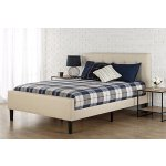 Zinus Upholstered Button Tufted Platform Bed with Footboard, King
