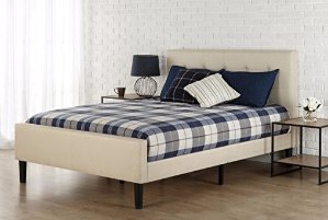 $159( Orig $249)Zinus Upholstered Button Tufted Platform Bed with Footboard, Queen