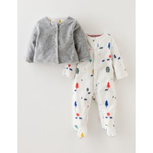 Sleepsuit & Velour Jacket Set 78155 Accessories at Boden