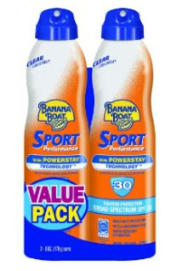 $11.34 Banana Boat Ultra Mist Sport Performance Broad Spectrum Sun Care Sunscreen Spray - Twin Pack - SPF 30, 6 ounce