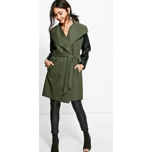 Lauren Faux Leather Sleeve Coat