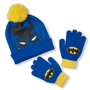 Boys Batman Mask Graphic Pom-Pom Beanie And Logo Gloves Set   The Children's Place