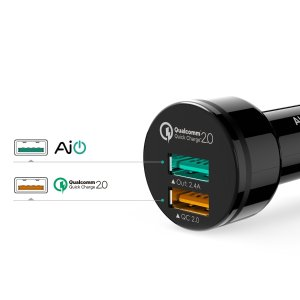 Aukey Quick Charge 2.0 30W 2-Port Car Charger + 3.3' Micro USB Cable