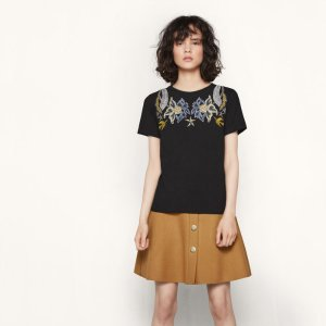 TAPIOCA T-shirt with embroidered flowers - T-shirts - Maje.com