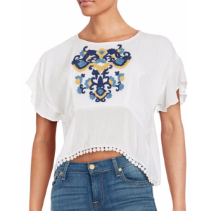 Lovers + Friends - Embroidered Cropped Top - saksoff5th.com