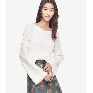 Stitched Bell Sleeve Sweater | Ann Taylor