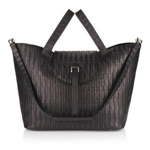 Luxury leather tote bag - thela black woven