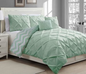 House of Hampton Germain Pinch Pleat 5 Piece Reversible Duvet Cover Set