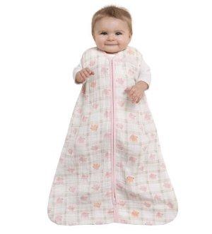 $14HALO 100% Cotton Muslin Sleepsack Wearable Blanket, Elephant Plaid, Medium
