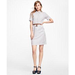 Striped Cotton Shirt Dress - Brooks Brothers