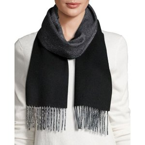 Neiman Marcus Cashmere Herringbone Fringe Scarf, Black/Light Gray