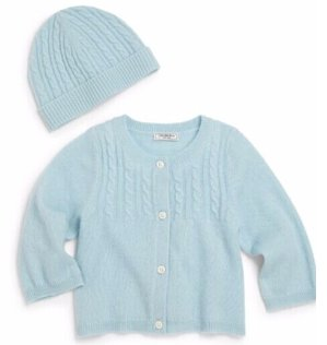 Baby's Two-Piece Cashmere Cable Cardigan & Hat Set