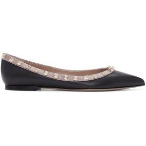 Valentino: Black & Pink Rockstud Flats | SSENSE