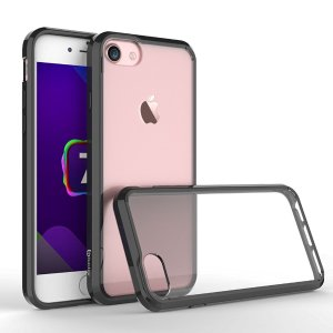 $1 iPhone 7 Case, Bastex Soft Slim Fit Flexible Clear Transparent Rubber Back Cover Fused TPU Black Side Bumper Case