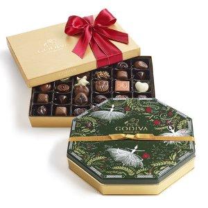 Chocolate Gold Gift Box & Holiday Wrapped Truffles Tin | GODIVA