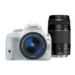 Canon EOS Rebel SL1 EF-S 18-55mm IS STM Kit White & EF 75-300mm f/4-5.6 III Refurbished | Canon Online Store