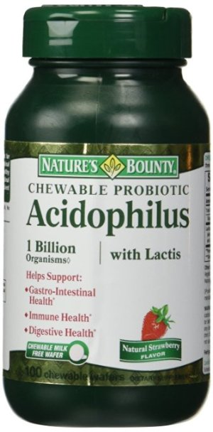 $5.66 Nature's Bounty Acidophilus with Lactis Chewable Milk Free Wafers, Natural Strawberry, 3 Count