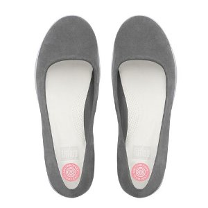 FitFlop F-Sporty Suede Ballet Flats Charcoal | Official FitFlop Store