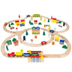 100pc Hand Crafted Wooden Train Set Triple Loop Railway Wood Track Kids Toy Play Set
