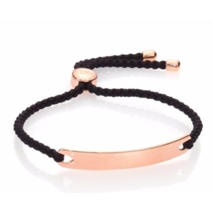 Monica Vinader - Havana Hammered 18K Rose Gold Vermeil Friendship Bracelet/Black - saks.com