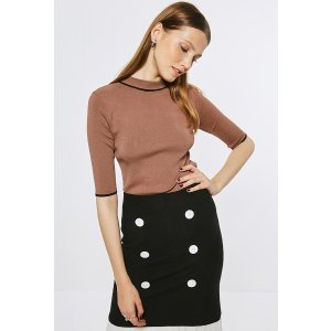 Coffee Knit Top With Half Sleeves TP1587