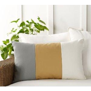 Tri-Colorblock Indoor/Outdoor Lumbar Pillow   Pottery Barn